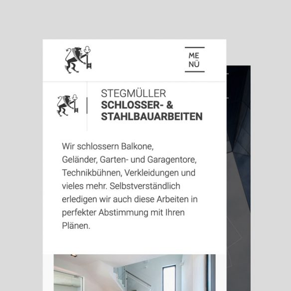 Stegmüller Website mobile Ansicht